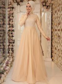 Tül Detaylı Abiye Elbise - Gold - Zehrace