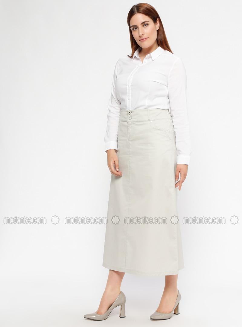 ac7dcdf22dc Ecru - Unlined - Plus Size Skirt