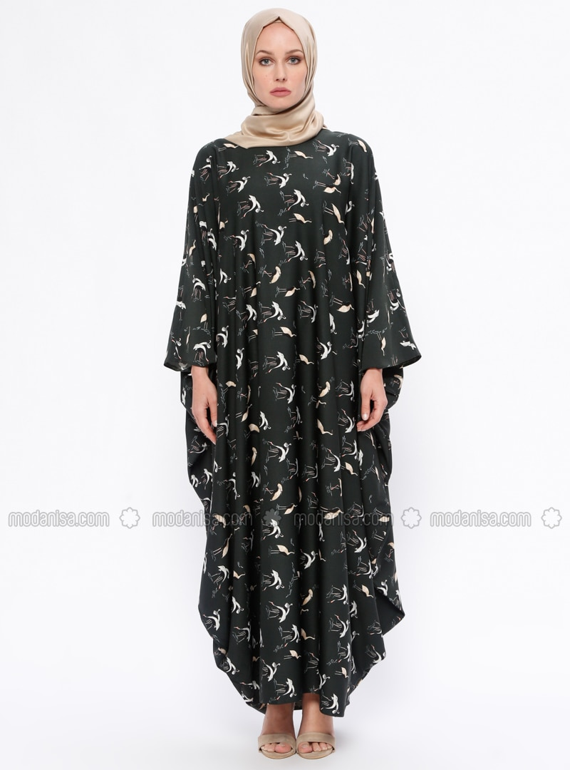 Khaki - Anthracite - Multi - Unlined - Crew neck - Abaya