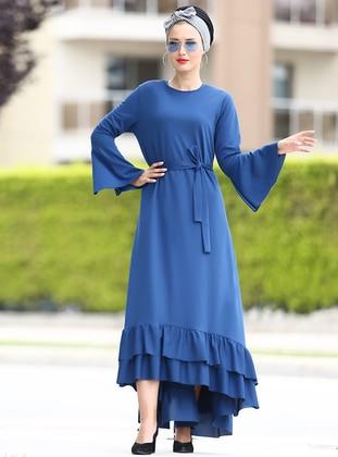 valon kol fırfır elbise - indigo - myzen