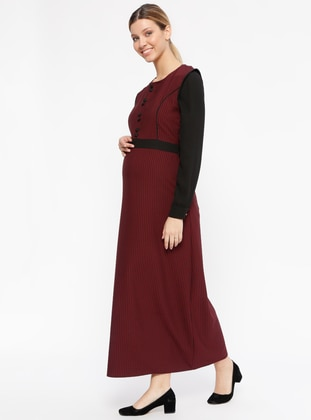 Maroon - Houndstooth - Crew neck - Unlined - Maternity Dress