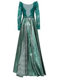 Green - Fully Lined - Muslim Evening Dress