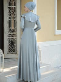 Gray - Fully Lined - Crew neck - Muslim Evening Dress