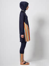 Navy Blue - Stripe - Fully Covered Swimsuits
