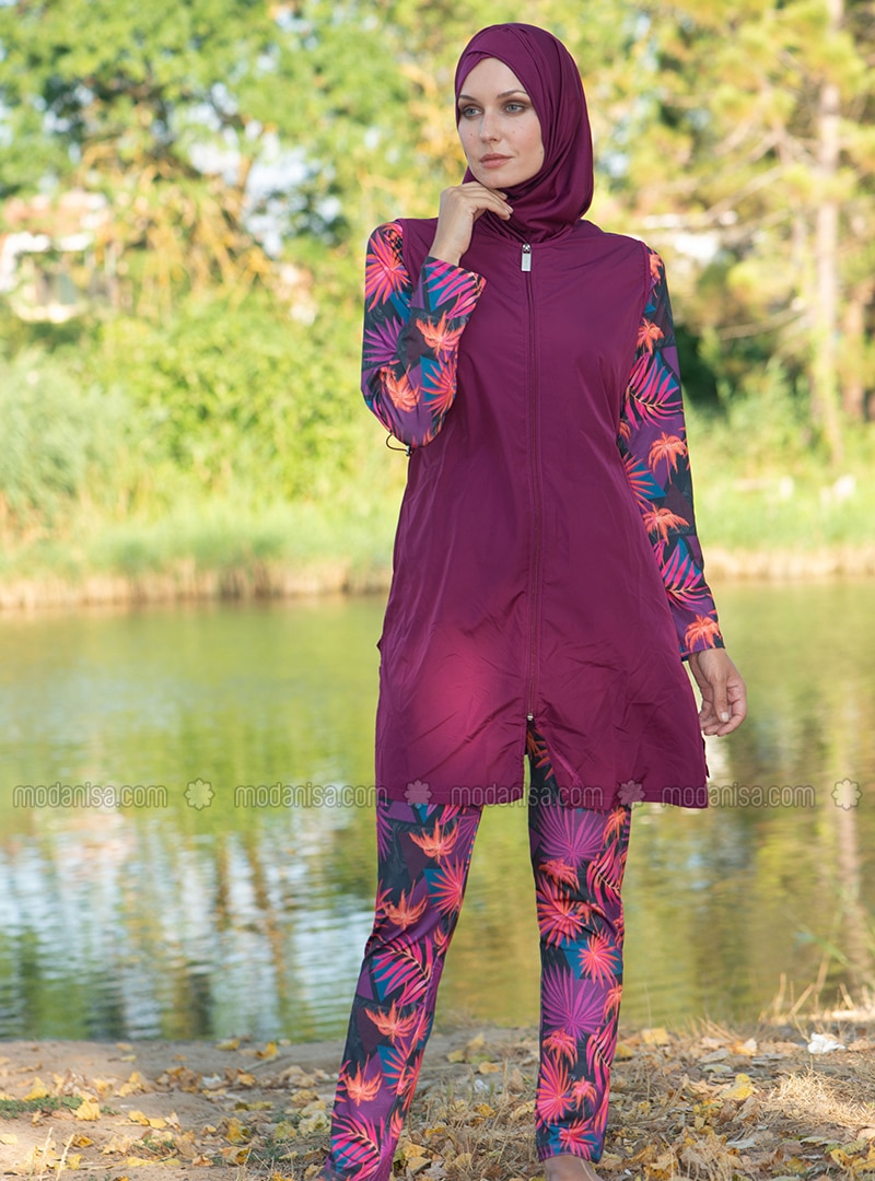 Plum - Multi - Fully Covered Swimsuits