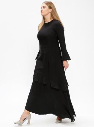 Black – Fully Lined – Crew Neck – Plus Size Dress – Melisita