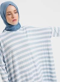 Blue - Stripe - Crew neck - Unlined - Dresses