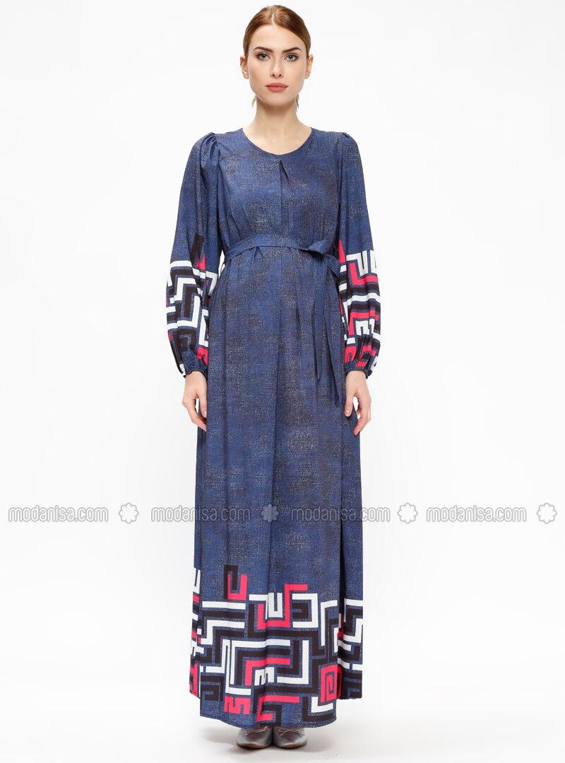 2ea5b494f8a Navy Blue - Crew neck - Unlined - Maternity Dress