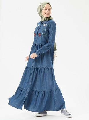 Blue Point Collar Unlined Cotton Denim Dresses