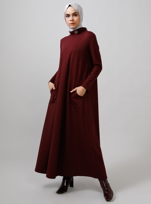 Maroon - Plum - Polo neck - Unlined - Dresses