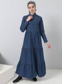 Blue - Point Collar - Unlined - Cotton - Denim - Dresses