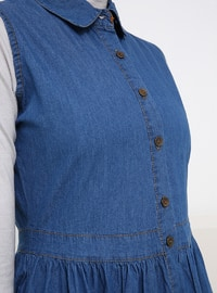 Blue - Point Collar - Unlined - Cotton - Denim - Dresses