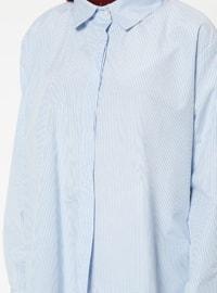 Blue - Stripe - Point Collar - Blouses