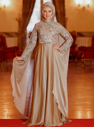 Gold - Fully Lined - Crew neck - Muslim Evening Dress - Eldia By Fatıma