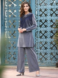 Navy Blue - Fully Lined - Viscose - Suit