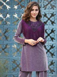 Purple - Fully Lined - Viscose - Suit