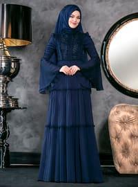 Hadra Abiye Elbise - Lacivert - An-Nahar
