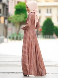 Brown - Multi - Crew neck - Unlined - Dresses