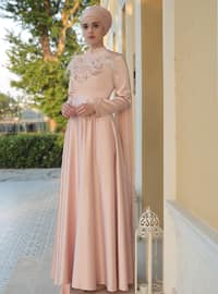 Powder - Crew neck - Muslim Evening Dress