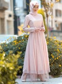 Tül Detaylı Elbise - Pudra - Minel Aşk