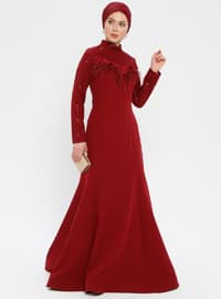 Maroon - Polo neck - Half Lined - Dress