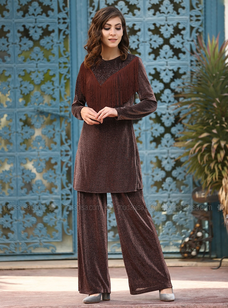 Brown - Fully Lined - Viscose - Suit