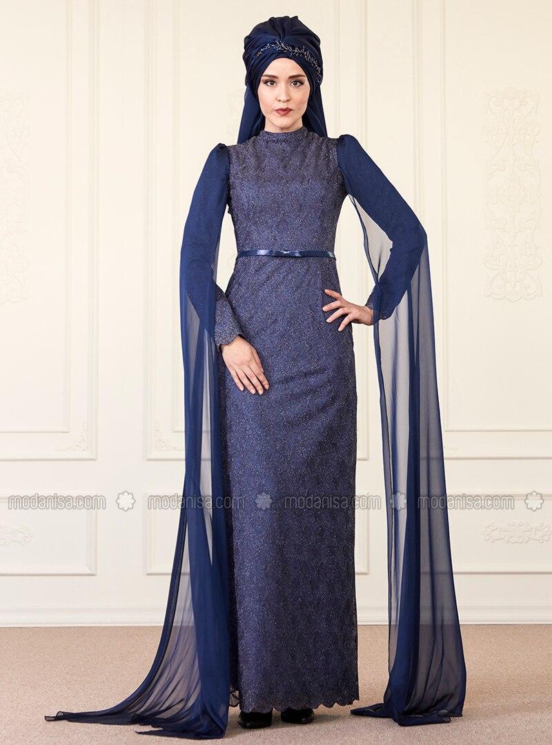 31695f45d3 Navy Blue - Fully Lined - Crew neck - Muslim Evening Dress. Fotoğrafı  büyütmek için tıklayın
