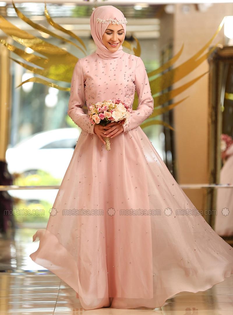 Powder - Fully Lined - Crew neck - Viscose - Muslim Evening Dress