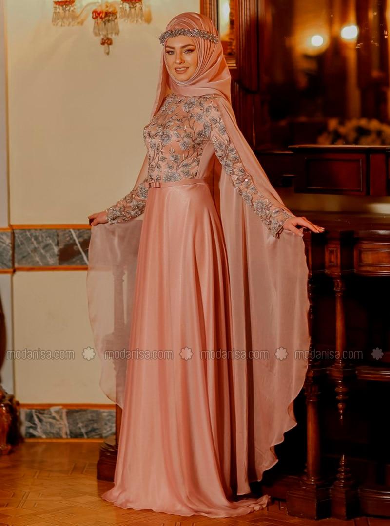 Powder - Fully Lined - Crew neck - Muslim Evening Dress - Eldia By Fatıma