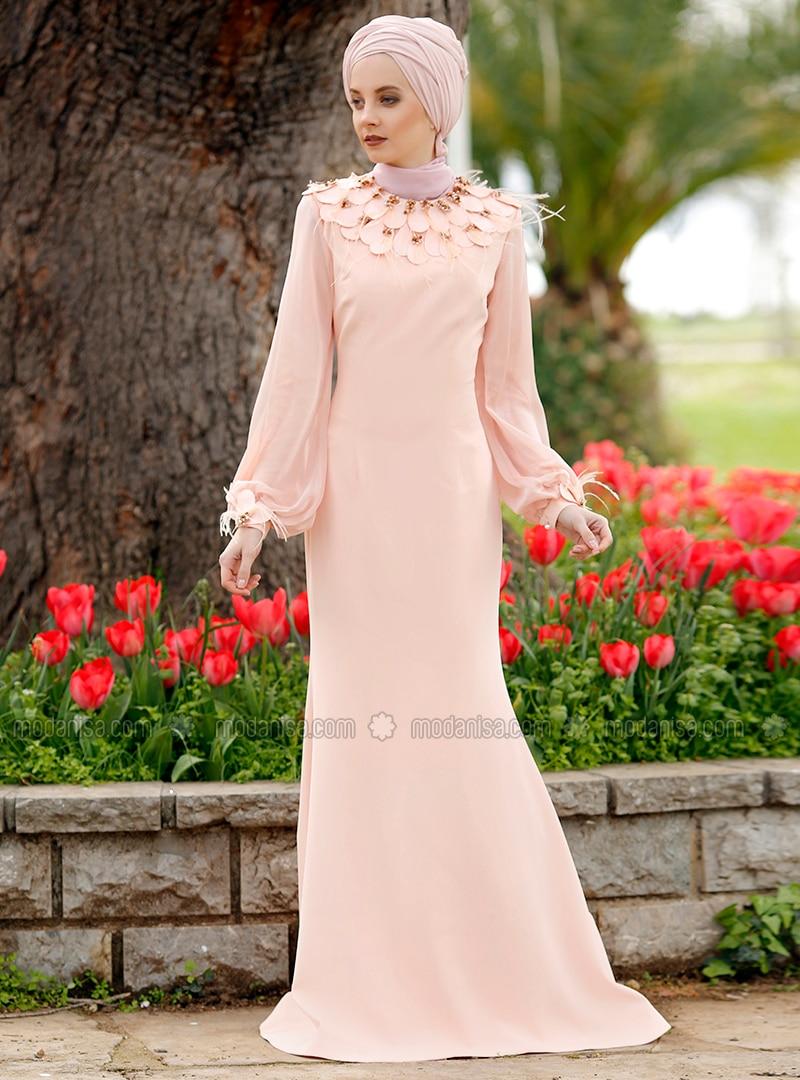 4703c4974f Salmon - Fully Lined - Crew neck - Viscose - Muslim Evening Dress.  Fotoğrafı büyütmek için tıklayın