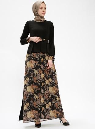 Black - Floral - Crew neck - Fully Lined - Dresses