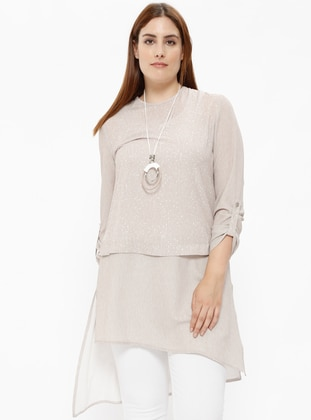 Beige – Crew Neck – Plus Size Tunic – Nihan