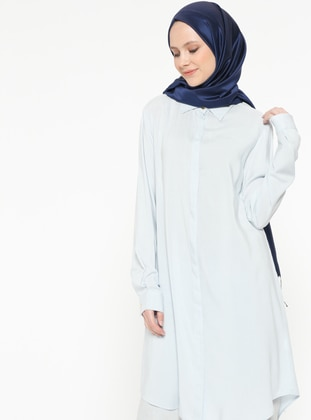 Blue - Point Collar - Viscose - Tunic