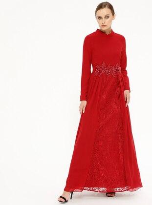 e04b2bd25b182 Şifon Detaylı Dantelli Abiye Elbise - Bordo - Butik Neşe