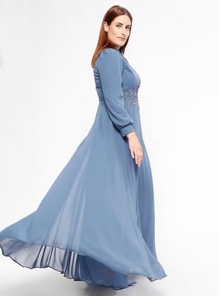 Indigo - Fully Lined - Crew neck - Muslim Plus Size Evening Dress
