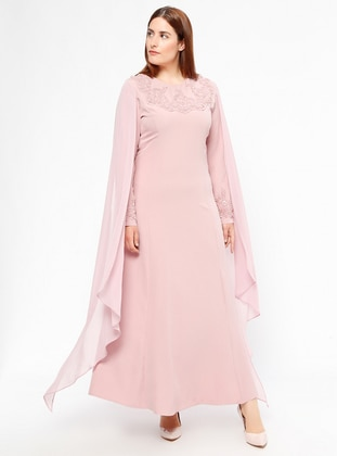 Powder - Fully Lined - Crew neck - Muslim Plus Size Evening Dress