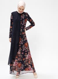 Navy Blue - Floral - Crew neck - Fully Lined - Dresses