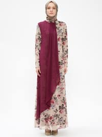 Plum - Floral - Crew neck - Fully Lined - Dresses