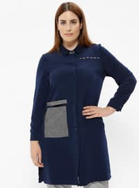 Navy Blue - Point Collar - Plus Size Tunic