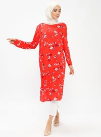 Red - Floral - Crew neck - Unlined - Tunic