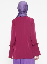 Purple - Plum - Crew neck - Blouses
