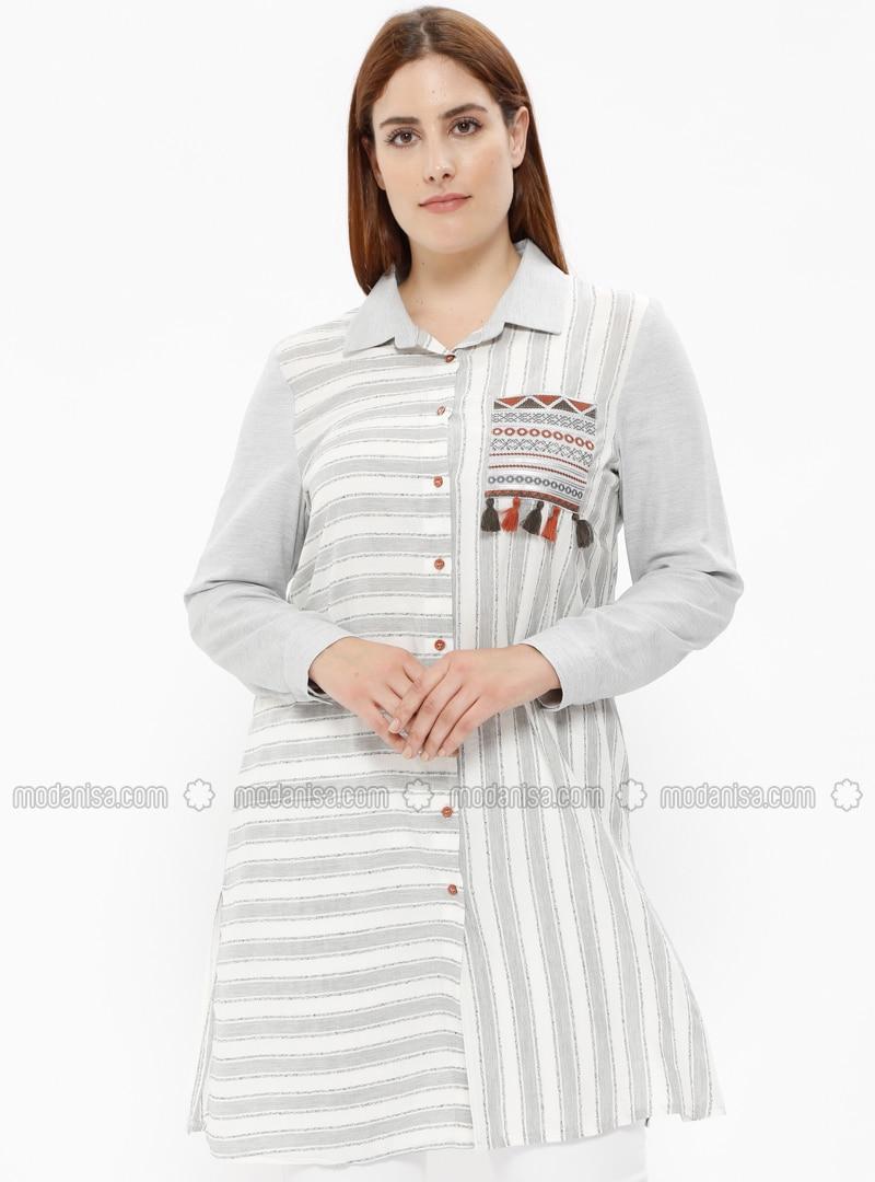 Gray - Stripe - Point Collar - Plus Size Tunic