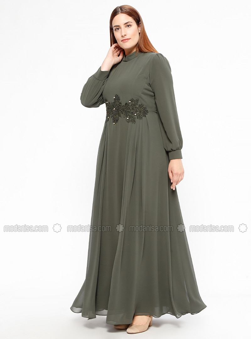 Khaki - Fully Lined - Crew neck - Muslim Plus Size Evening Dress