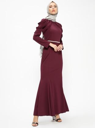 Plum - Unlined - Polo neck - Muslim Evening Dress