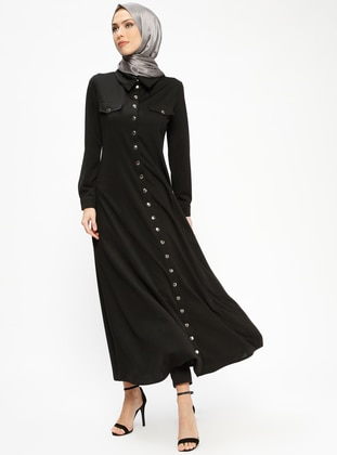 Black - Unlined - Point Collar - Abaya