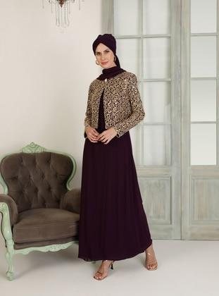 Purple - Purple - Unlined - Crew neck - Purple - Unlined - Crew neck - Muslim Evening Dress - MEKSİLA
