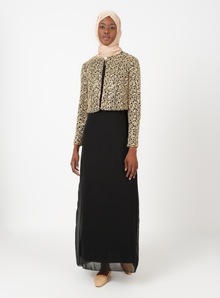 Black - Black - Unlined - Crew neck - Black - Unlined - Crew neck - Muslim Evening Dress
