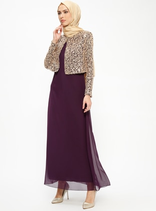 Purple - Purple - Unlined - Crew neck - Purple - Unlined - Crew neck - Muslim Evening Dress