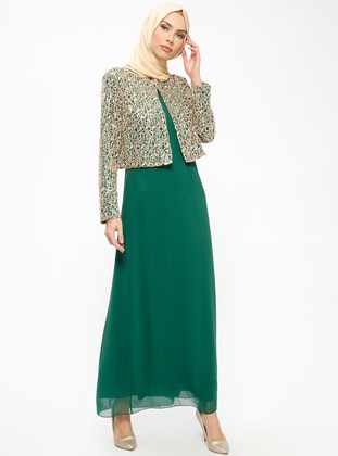 Green - Green - Unlined - Crew neck - Green - Unlined - Crew neck - Muslim Evening Dress