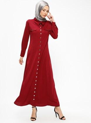 Maroon - Unlined - Point Collar - Abaya